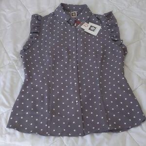 Anne klein ruffle blouse in Zinc n white polka dot